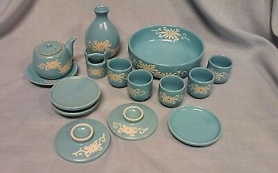 Vintage Pottery Sake Cups, Saucers, Teapot, Vase And Bowl Turquoise With Daisies