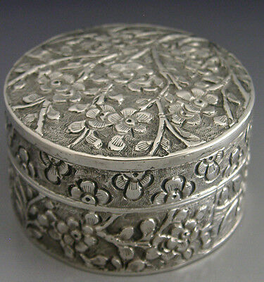 BEAUTIFUL CHINESE EXPORT SILVER BLOSSOM BOX c1900 ANTIQUE