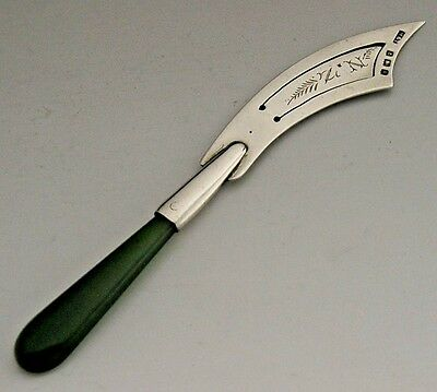 Rare English New Zealand Jade Sterling Silver Bookmark 1906 Antique
