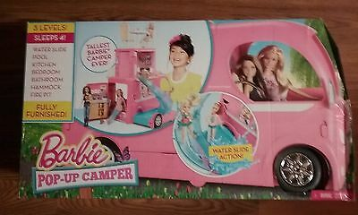 BARBIE POPUP CAMPER 3 LEVELS FITS 4 BARBIES FULLY FURNISHED by MATTEL
