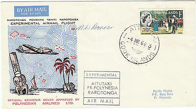 Cook Islands Aitutaki French Polynesia Experimental Flight Pilot signed 1966