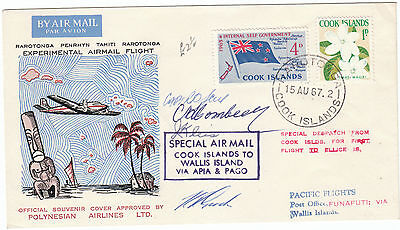 Cook Islands Rarotonga Wall Island Experimental Flight Ellis IsPilot signed 1966