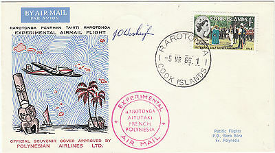 Cook Islands Rarotonga French Polynesia Experimental Flight Pilot signed