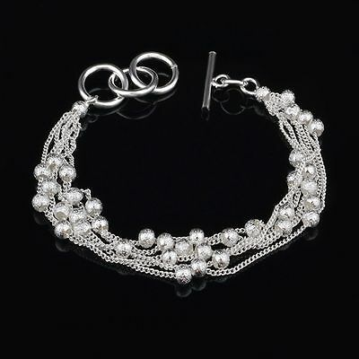Party Women Girl Beads String Multilayer Bangle Chain Bracelet Silver Plated