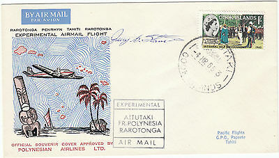 Cook Islands Aitutaki Tahiti Experimental Flight Pilot signed 1966