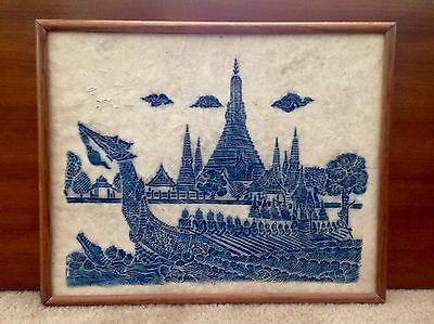 Vintage Thai Rubbing Temple Painting