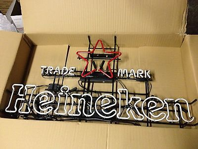 HEINEKEN NEON LIGHT 42 INCH IN BOX RARE TRADEMARK Perfect for your MAN CAVE!!