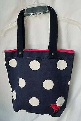 NWT Abercrombie Book-Bag Navy, White Dots, Dk Pink Trim and Moose