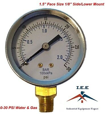 "Quality 1/8"" NPT Air Compressor Gauge 0-30 PSI Side / Bottom Mnt Mount 1.5"" Face"
