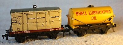 Hornby Dublo OO 4648 Low Sided Insul-Meat box + Shell Lubricating Oil tanker