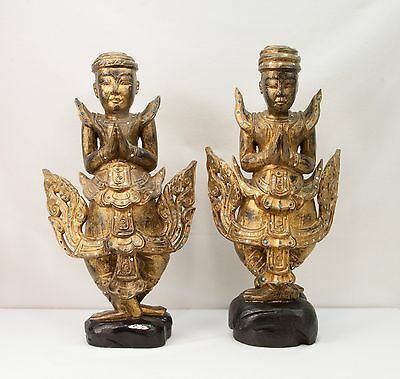 Mid Century Hand Carved Painted Gold Gilt Thailand Thai Wood Siamese Temple