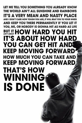 """Rocky Balboa Motivational Quote Boxing Wall Print Poster 24""""X36"""""""