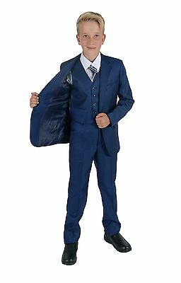 Boys Blue Suits 5 Piece Wedding Suit Prom Page Boy Formal Party 2-15 Years