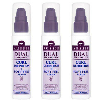 3 x Aussie Frizz Miracle Dual Personality Curl Definition + Soft Feel Serum 75g