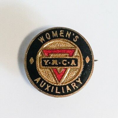 Vintage Enamel Women's Auxiliary YMCA Badge, WWII, Militaria, Home Front