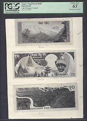 Nepal 3 Items 5-10 Rupees Unissued Pick Unlisted Photograph Proof UNC