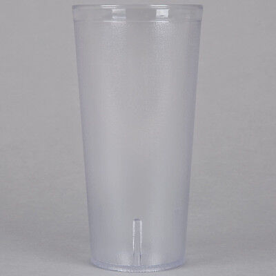 24 Oz Clear Pebbled Plastic Tumbler Commercial Restaurant Cup Glass Case 24 PACK