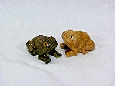 Pair of Vintage Hand Carved Stone Frogs Toads