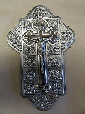 Vintage Silver Embossed Crucifix With Stations Of The Cross Rosewood Cross