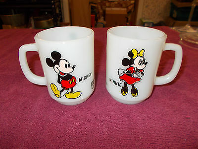 Anchor Hocking Milk Glass Mickey and Minnie Mouse Mugs Pepsi Promo Disney