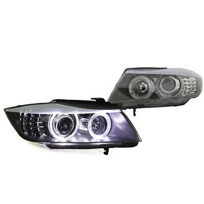 09-12 BMW E90 LCI 4DR Black E-Code Halogen Projector Headlight w/ UHP Angel Eyes