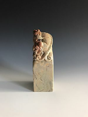 A Chinese Vintage Carved Dragon Soapstone Seal