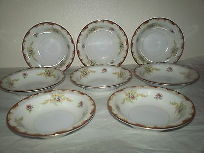 Set of 8 Harmony House Fine China Wembley Rimmed Fruit Dessert Bowls 5 1/2""