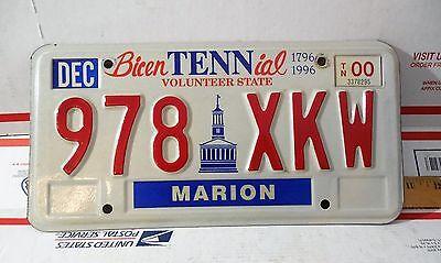 Vintage 2000 Tennesse Bicentennial License Plate Marion