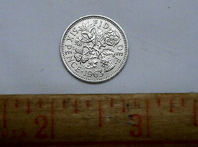 Great Britain UK 1963 Six 6 Pence Wedding Coin Rose Thistle Shamrock Leek 15