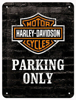 A5 Tin Metal Embossed Sign HARLEY DAVIDSON MOTORCYCLES PARKING Licensed Product