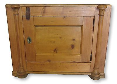 Antique French Pine End Table with Cabinet