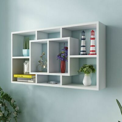 Floating Wall Storage Display Cabinet Unit Cubes Shelves 8 Compartments White
