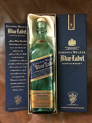 JOHNNIE WALKER BLUE EMPTY BOTTLE and SATIN-LINED CASE | RARE SMALL 200ML NICE