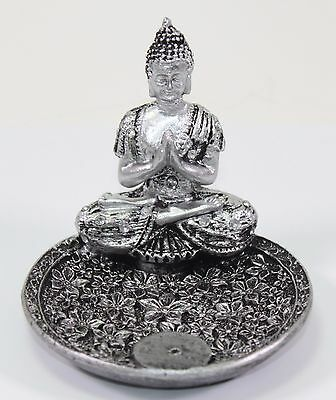 "Feng Shui Small 3"" Round Thai Meditating Silver Buddha Incense Holder Figurine"