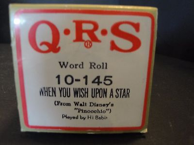 """QRS Piano Roll 10-145 When You Wish Upon A Star (from Walt Disney's """"Pinocchio"""")"""