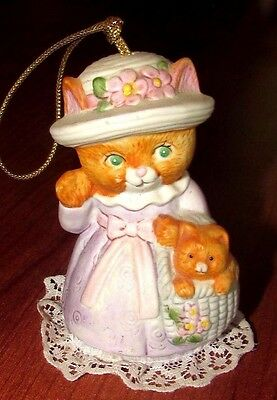 Vintage J.S.N.Y SRI LANKA Kitten Kitty Cat Bell Ringer Hanging Ornament