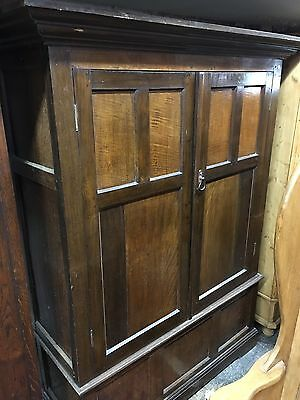 Rare 18th Early 19th Century Linen Press Cupboard Wardrobe Oak Primitive