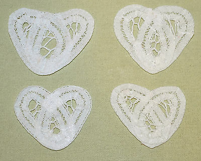"Lot of 4 NEW White Cotton Battenburg Lace Doily Heart Inserts - 1 7/8"" by 1 1/2"""
