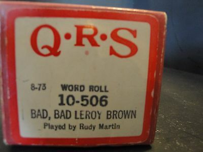 """QRS 10-506 Piano Roll """"Bad Bad Leroy Brown"""" Played by Rudy Martin"""