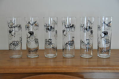 6 VINTAGE 1950s LIBBEY ?HORSELESS CARRIAGE TOM COLLINS ICED TEA TUMBLERS GLASSES