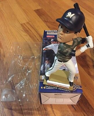 Scooter Gennett Milwaukee Brewers Bobblehead Camo Jersey 2014 Stadium Giveaway