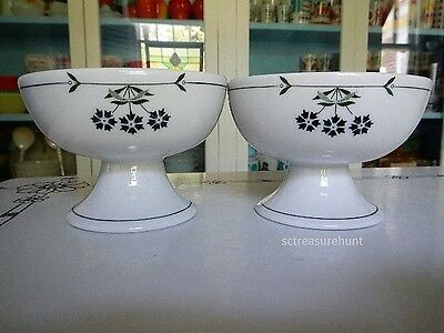 Shenango China Art Deco Floral Modern Footed Sherbet Cups Bowls or Dishes