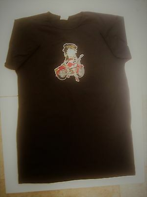 Betty Boop on Motorcycle Tee-Shirt/Night Shirt,  Size Men's Very Large