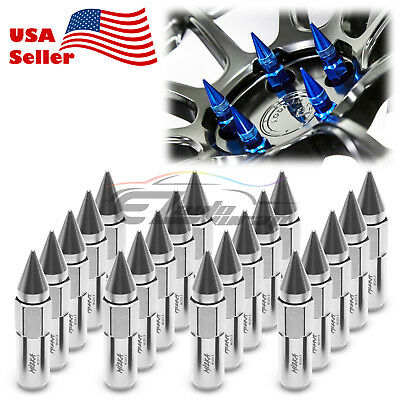 Silver 20 PCS M12X1.5mm Lug Nuts Spiked Extended Tuner Aluminum Wheels Rims Cap