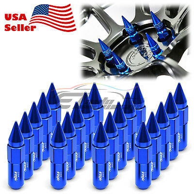 Blue 20 PCS M12X1.5mm Lug Nuts Spiked Extended Tuner Aluminum Wheels Rims Cap