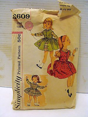 True Vintage Simplicity 3609 Girl's One Piece Dress and Jumper