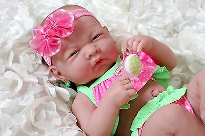 "Summer Girl Preemie Berenguer Newborn Baby Doll Clothes Real Vinyl 14"" life like"