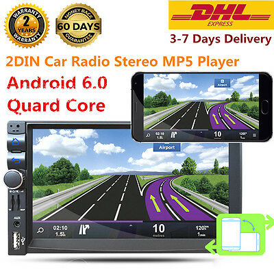 """Android 6.0 7"""" Double Bluetooth 2DIN Car Radio Stereo MP5 DVD Player GPS Nav New"""