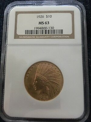 1926 $10 Indian Head Gold Coin NGC MS63