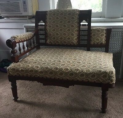 Antique Eastlake Victorian Carved Walnut Gossip Bench Bustle Parlor Chair Settee